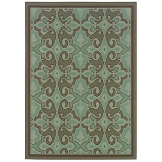 StyleHaven Traditional Blue/Brown Indoor-Outdoor Area Rug (5'3x7'6)