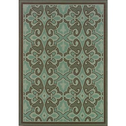 Blue/ Brown Outdoor Area Rug (6'7 x 9'6)