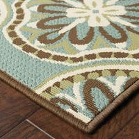 "StyleHaven Floral Blue/Ivory Indoor-Outdoor Area Rug (3'7x5'6) - 3'7"" x 5'6"""