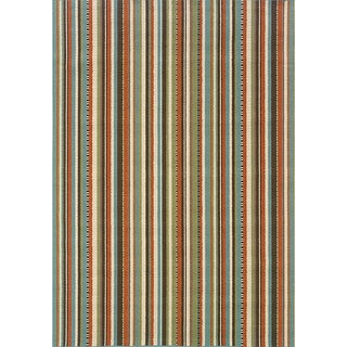 StyleHaven Stripes Green/Blue Indoor-Outdoor Area Rug (5'3x7'6)