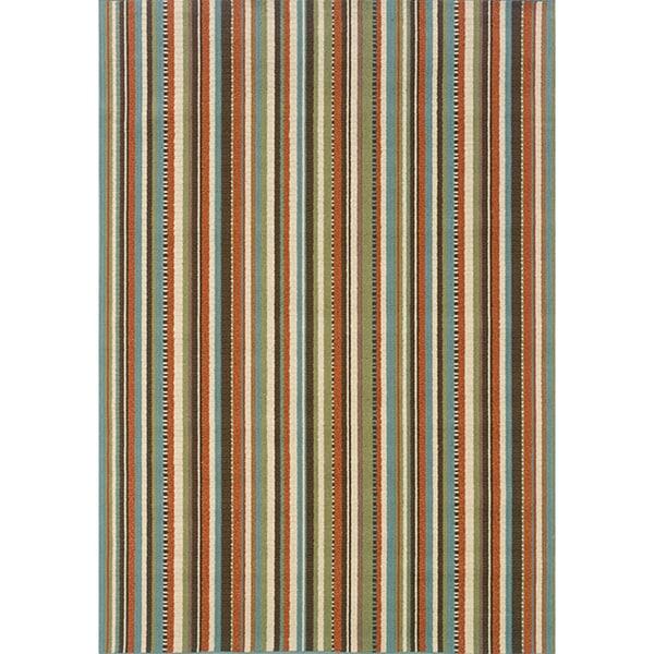 StyleHaven Stripes Green/Blue Indoor-Outdoor Area Rug (5'3x7'6)