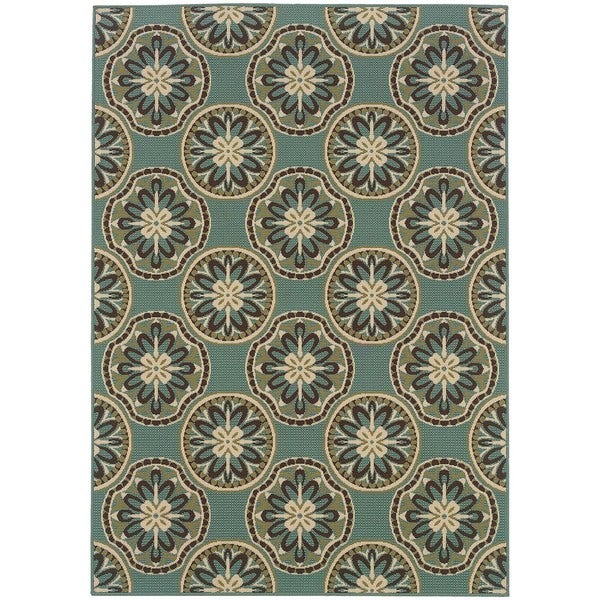 StyleHaven Floral Blue/Ivory Indoor-Outdoor Area Rug (5'3x7'6)