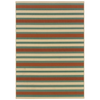 StyleHaven Stripes Blue/Ivory Indoor-Outdoor Area Rug (3'7x5'6)