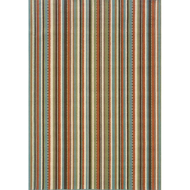 Blue/ Multi Striped Outdoor Area Rug (3'7 x 5'6)