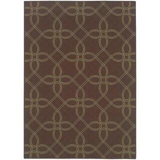 StyleHaven Lattice Brown/Green Indoor-Outdoor Area Rug (6'7x9'6)