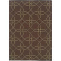 StyleHaven Lattice Brown/Green Indoor-Outdoor Area Rug - 6'7 x 9'6