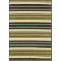 Green/Blue Outdoor Area Rug (5'3 x 7'6)