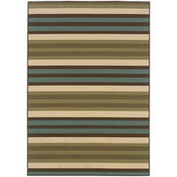 "StyleHaven Stripes Green/Blue Indoor-Outdoor Area Rug (5'3x7'6) - 5'3"" x 7'6"""