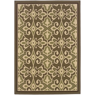 StyleHaven Traditional Green/Ivory Indoor-Outdoor Area Rug (5'3x7'6)