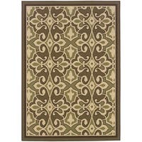 StyleHaven Traditional Green/Ivory Indoor-Outdoor Area Rug - 5'3 x 7'6