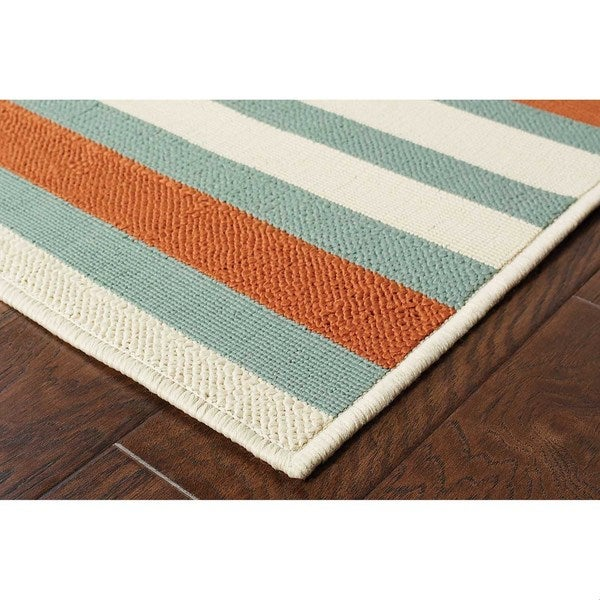 Blue/ Orange Outdoor Area Rug (6'7 x 9'6)
