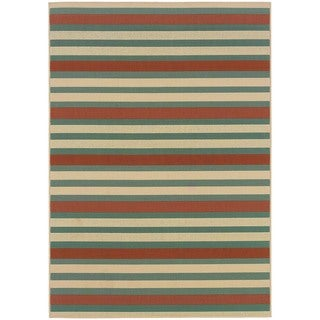 StyleHaven Stripes Blue/Ivory Indoor-Outdoor Area Rug (6'7x9'6)