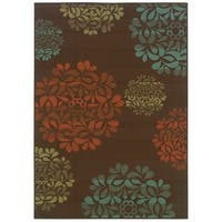 "StyleHaven Floral Brown/Blue Indoor-Outdoor Area Rug (2'5x4'5) - 2'5"" x 4'5"""