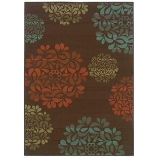 StyleHaven Floral Brown/Blue Indoor-Outdoor Area Rug (5'3x7'6)