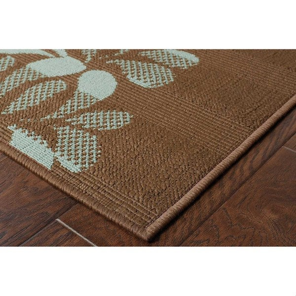 "Brown/Blue Floral-Pattern Outdoor Area Rug (6'7"" x 9'6"")"