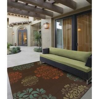 StyleHaven Floral Brown/Blue Indoor-Outdoor Area Rug (6'7x9'6)