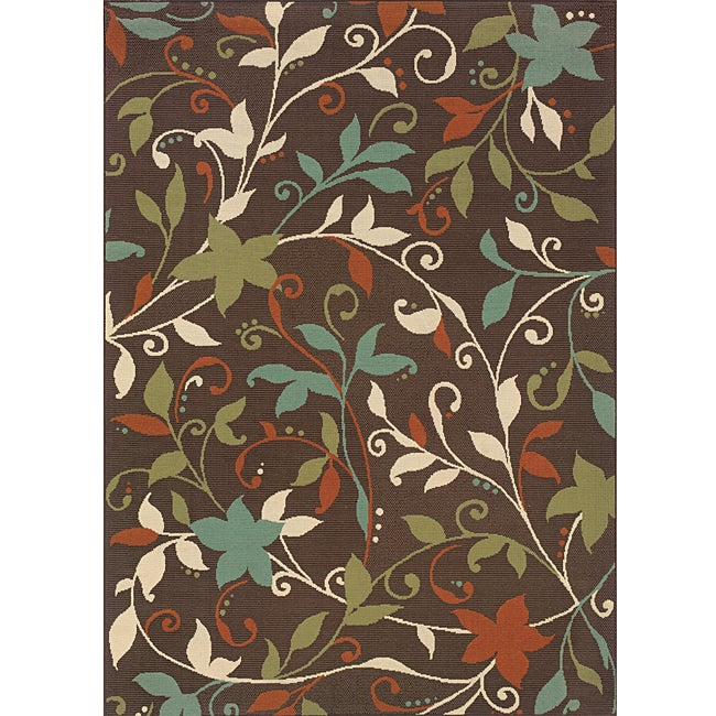 StyleHaven Floral Brown/Green Indoor-Outdoor Area Rug (2'5x4'5) - Thumbnail 0