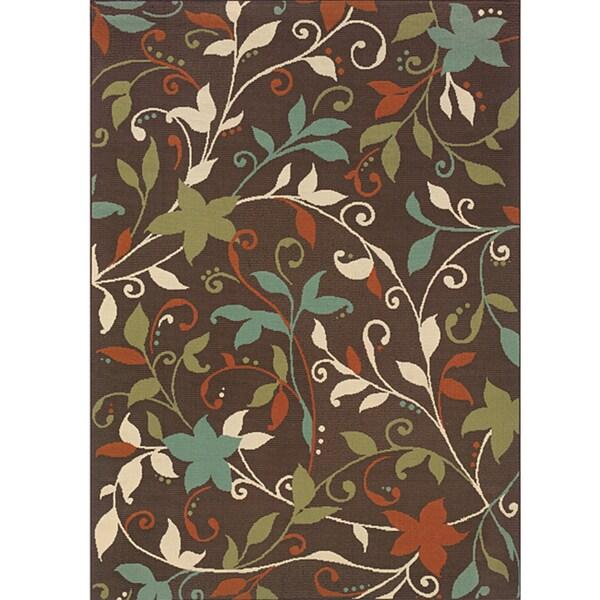StyleHaven Floral Brown/Green Indoor-Outdoor Area Rug (3'7x5'6)