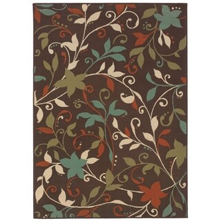 StyleHaven Floral Brown/Green Indoor-Outdoor Area Rug (5'3x7'6)