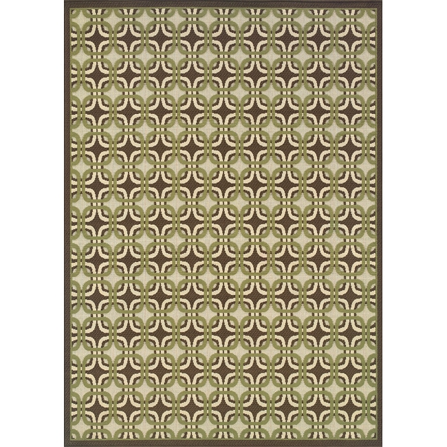 Brown/Green Outdoor Area Rug (6'7 x 9'6) - Thumbnail 0
