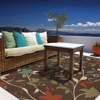 "StyleHaven Floral Brown/Green Indoor-Outdoor Area Rug (6'7x9'6) - 6'7"" x 9'6"""