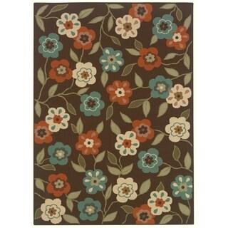 StyleHaven Floral Brown/Ivory Indoor-Outdoor Area Rug - 2'5 x 4'5
