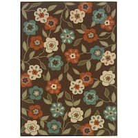 "StyleHaven Floral Brown/Ivory Indoor-Outdoor Area Rug (3'7x5'6) - 3'7"" x 5'6"""