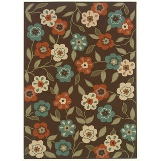 StyleHaven Floral Brown/Ivory Indoor-Outdoor Area Rug - 3'7 x 5'6
