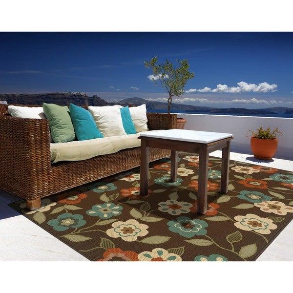 StyleHaven Floral Brown/Ivory Indoor-Outdoor Area Rug (3'7x5'6)