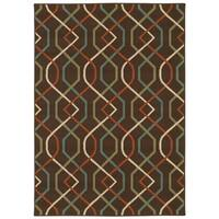 StyleHaven Lattice Brown/Ivory Indoor-Outdoor Area Rug - 5'3 x 7'6