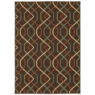 StyleHaven Lattice Brown/Ivory Indoor-Outdoor Area Rug (6'7x9'6)