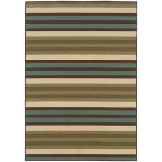 StyleHaven Stripes Green/Blue Indoor-Outdoor Area Rug (2'5x4'5)