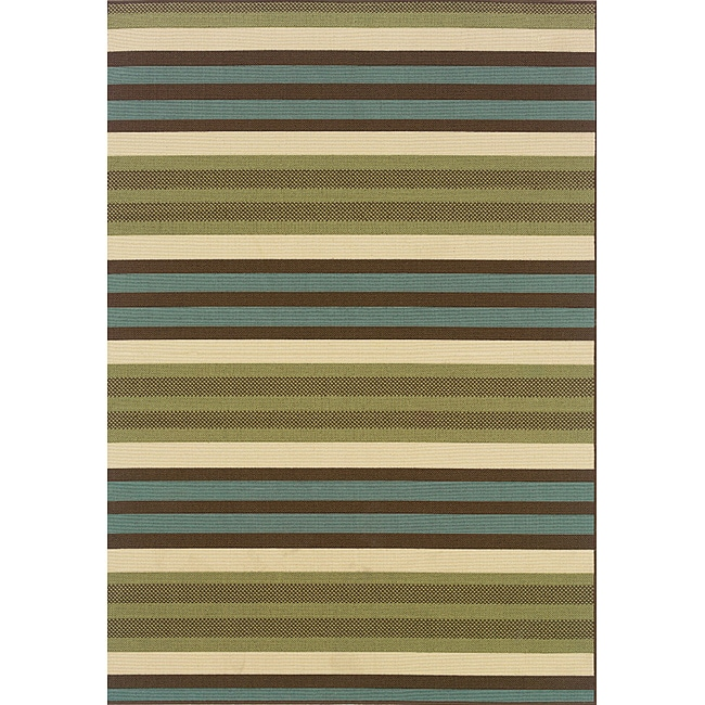 Green/Blue Outdoor Area Rug (3'7 x 5'6)