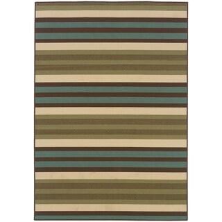 "StyleHaven Stripes Green/Blue Indoor-Outdoor Area Rug (6'7x9'6) - 6'7"" x 9'6"""
