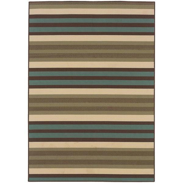 StyleHaven Stripes Green/Blue Indoor-Outdoor Area Rug (6'7x9'6)