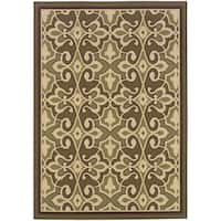 "StyleHaven Traditional Green/Ivory Indoor-Outdoor Area Rug (3'7x5'6) - 3'7"" x 5'6"""