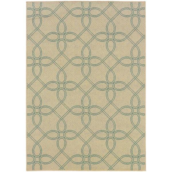 StyleHaven Lattice Ivory/Blue Indoor-Outdoor Area Rug (2'5x4'5)