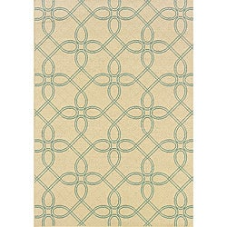 Ivory/Blue Outdoor Area Rug (3'7 x 5'6)
