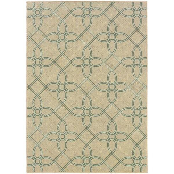 StyleHaven Lattice Ivory/Blue Indoor-Outdoor Area Rug (5'3x7'6)
