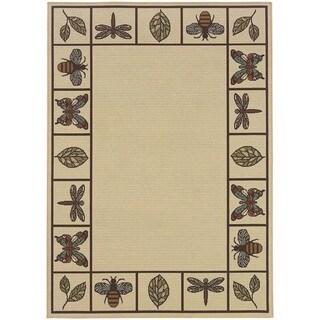 StyleHaven Botanical Ivory/Brown Indoor-Outdoor Area Rug (3'7x5'6)