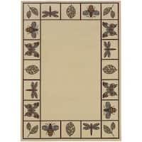 "StyleHaven Botanical Ivory/Brown Indoor-Outdoor Area Rug - 3'7"" x 5'6"""