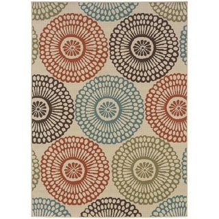 "Ivory/Red Outdoor Area Rug (5'3"" x 7'6"")"