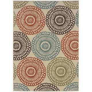 "Ivory/Red Outdoor Geometric Area Rug (6'7"" x 9'6"")"