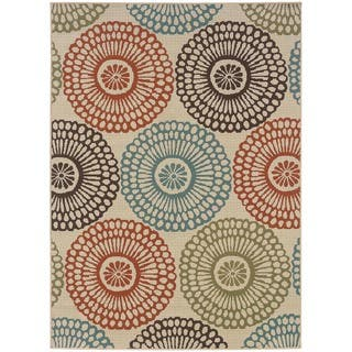 StyleHaven Floral Beige/Blue Indoor-Outdoor Area Rug (6'7x9'6)|https://ak1.ostkcdn.com/images/products/6233237/P13874959.jpg?impolicy=medium