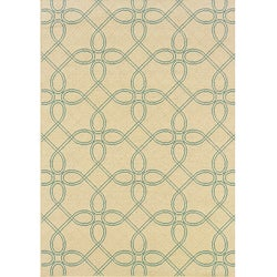 "Ivory/Blue Outdoor Geometric Area Rug (6'7"" x 9'6"")"