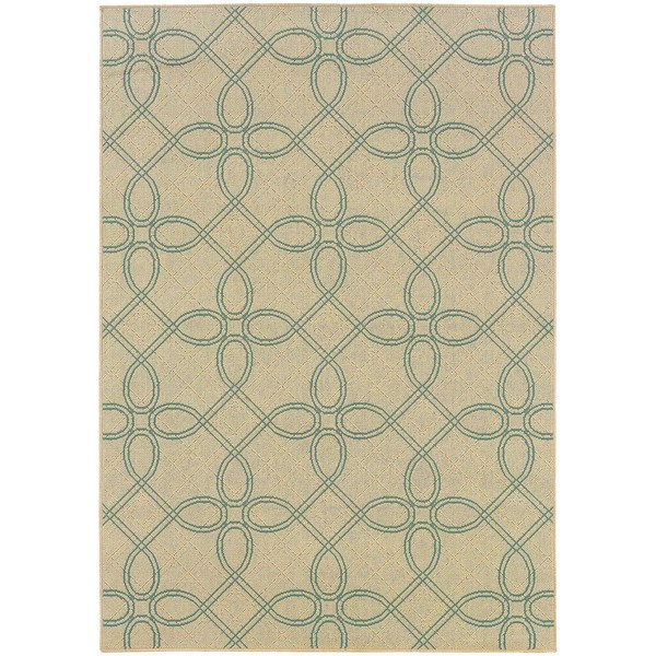 StyleHaven Lattice Ivory/Blue Indoor-Outdoor Area Rug (6'7x9'6)