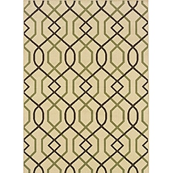 """Ivory/Brown Outdoor Geometric Area Rug (2'5"""" x 4'5"""")"""