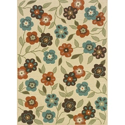 Ivory/ Brown Outdoor Area Rug (6'7 x 9'6)