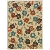 "StyleHaven Floral Ivory/Brown Indoor-Outdoor Area Rug - 6'7"" x 9'6"""