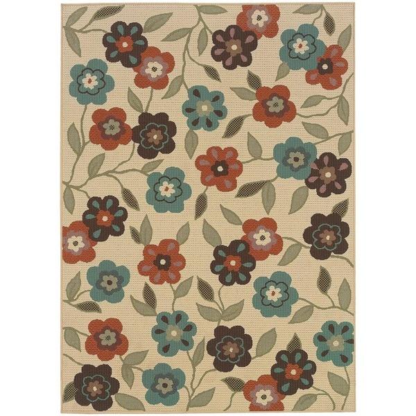 StyleHaven Floral Ivory/Brown Indoor-Outdoor Area Rug (6'7x9'6)